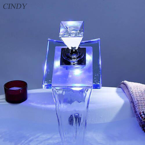 Led Bathroom Sink Faucet Vessel Waterfall Glass One Hole