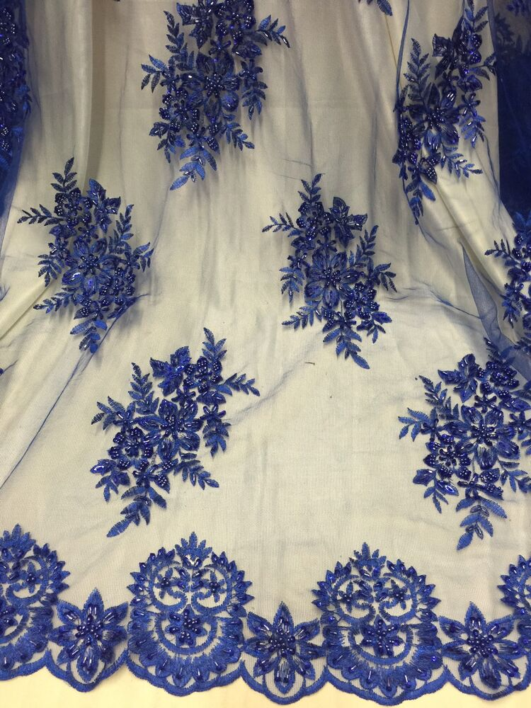 Royal mesh w embroidery beads sequins bridal lace for Bridal fabric