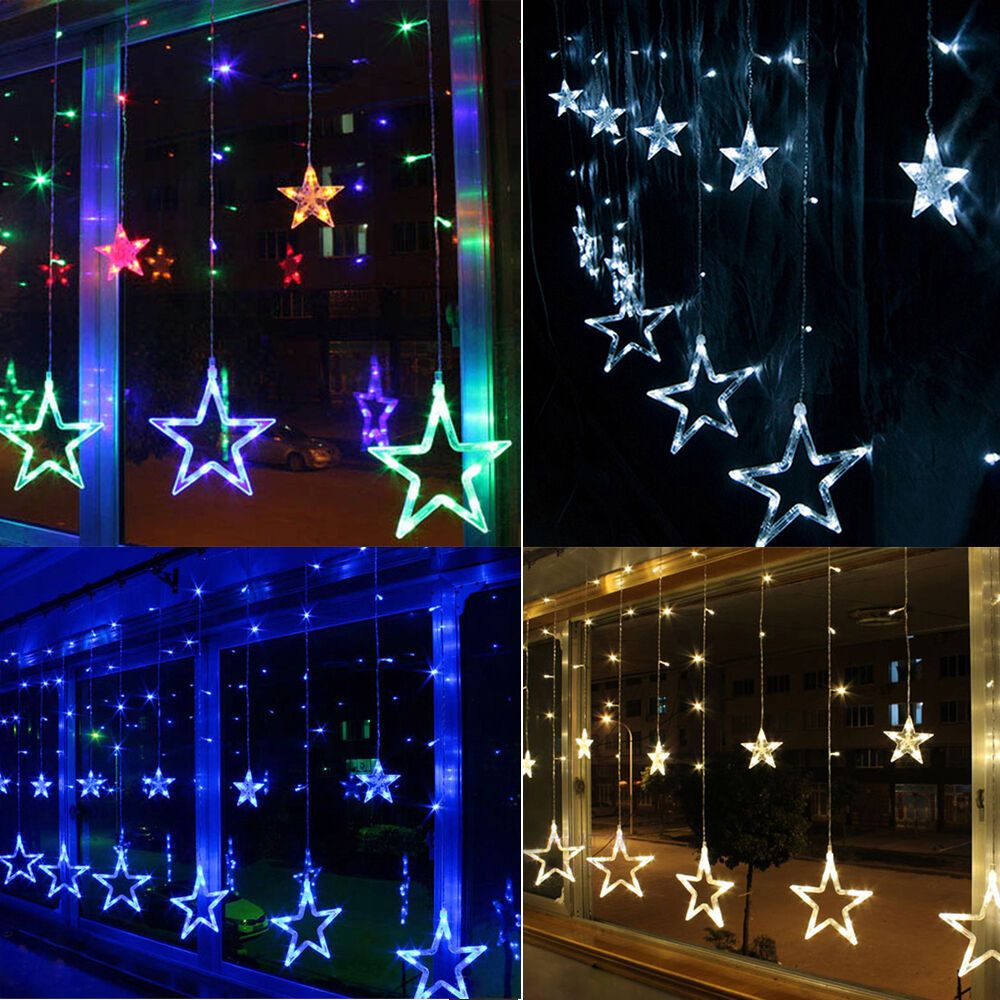 christmas wedding party xmas curtain window star fairy. Black Bedroom Furniture Sets. Home Design Ideas