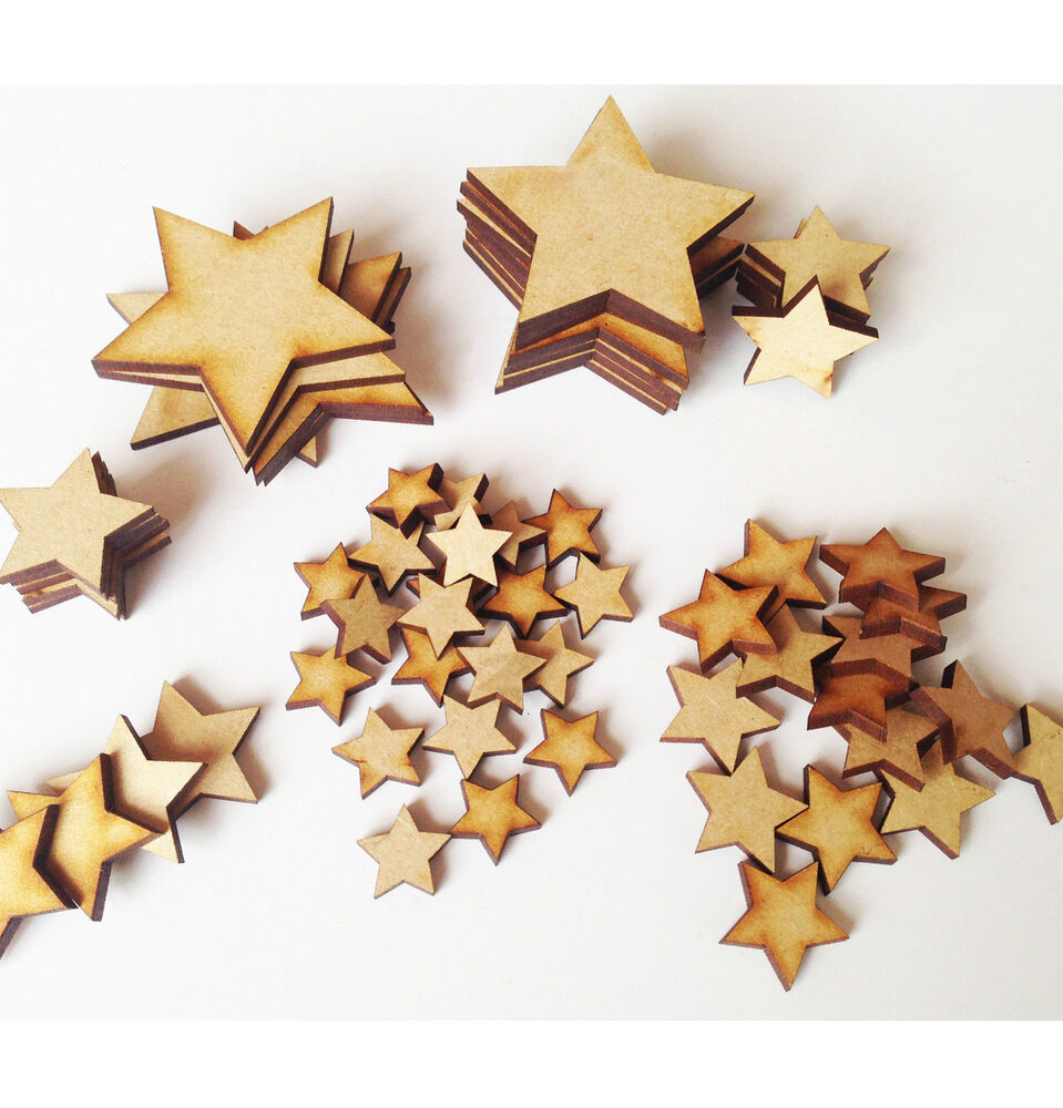 Wooden MDF Star Christmas Shapes craft blank cutouts Plaque and card ...