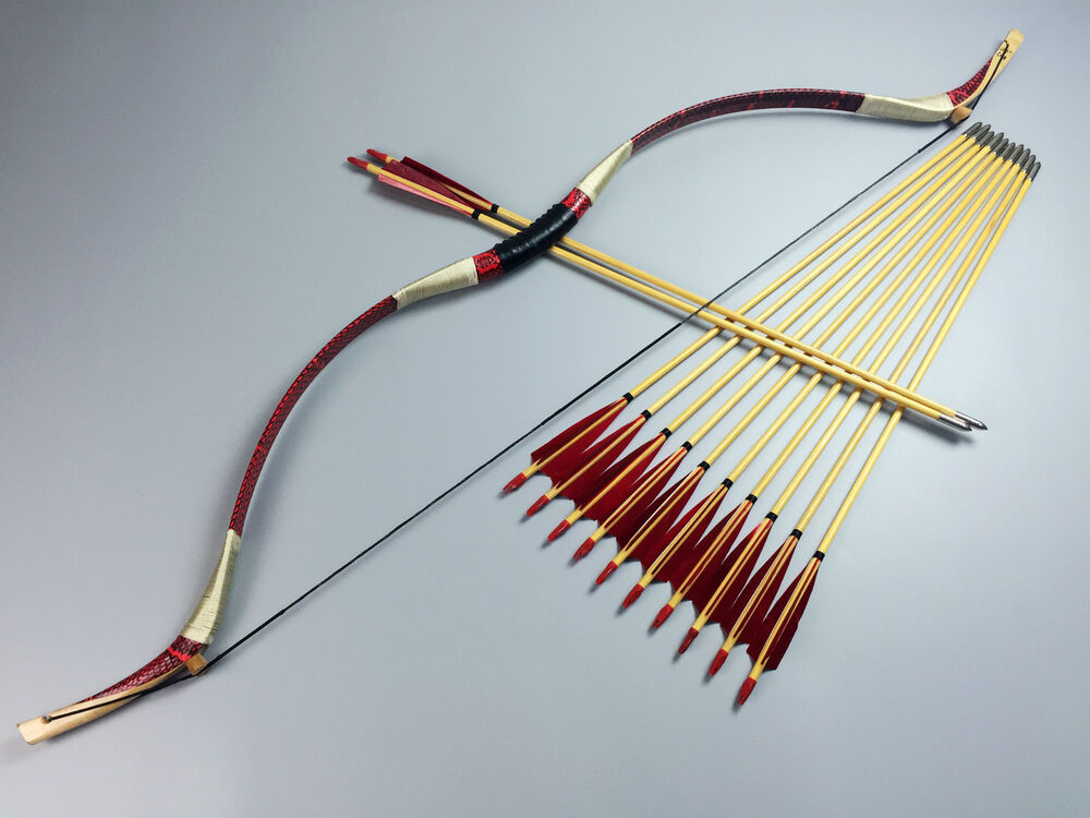 45lbs handmade cobra red snakeskin mongolian bow longbow recurve 12 wood arrows ebay - How to make a homemade bow and arrow out of wood ...