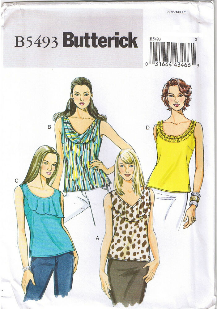 Stretch Knit Sewing Patterns : Easy Stretch Knit Sleeveless Top Butterick Sewing Pattern Size 16 18 20 22 24...