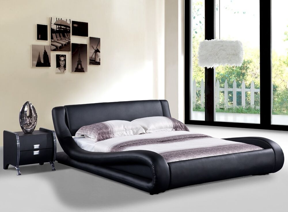 Dona Black Faux Leather Modern Platform Bed Queen East