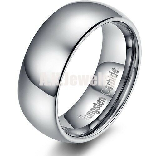 Mens Tungsten Carbide Ring Wedding Bands Silver Jewelry Smooth Size 10 ...