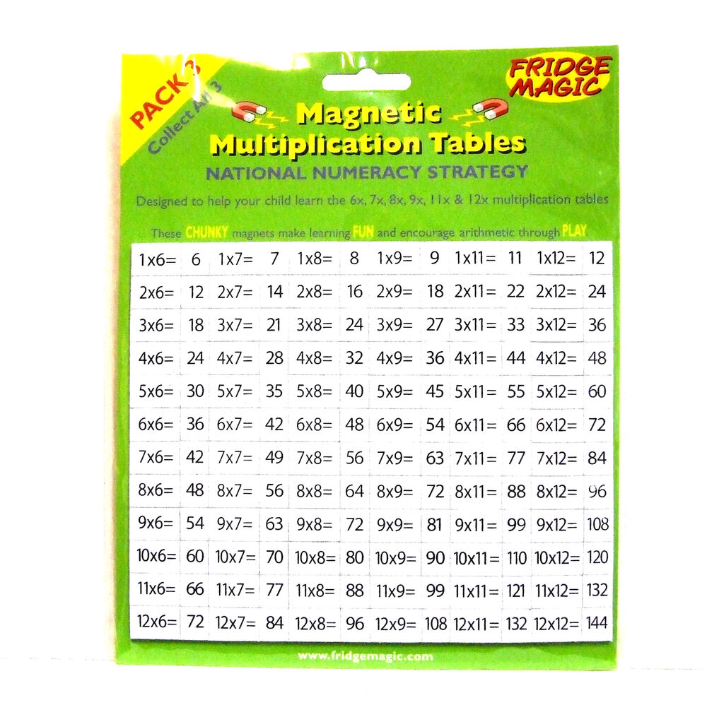 Magnetic numbers multiplication tables 67891112 pack 3 fridge magnetic numbers multiplication tables 67891112 pack 3 fridge magic new ebay gamestrikefo Image collections