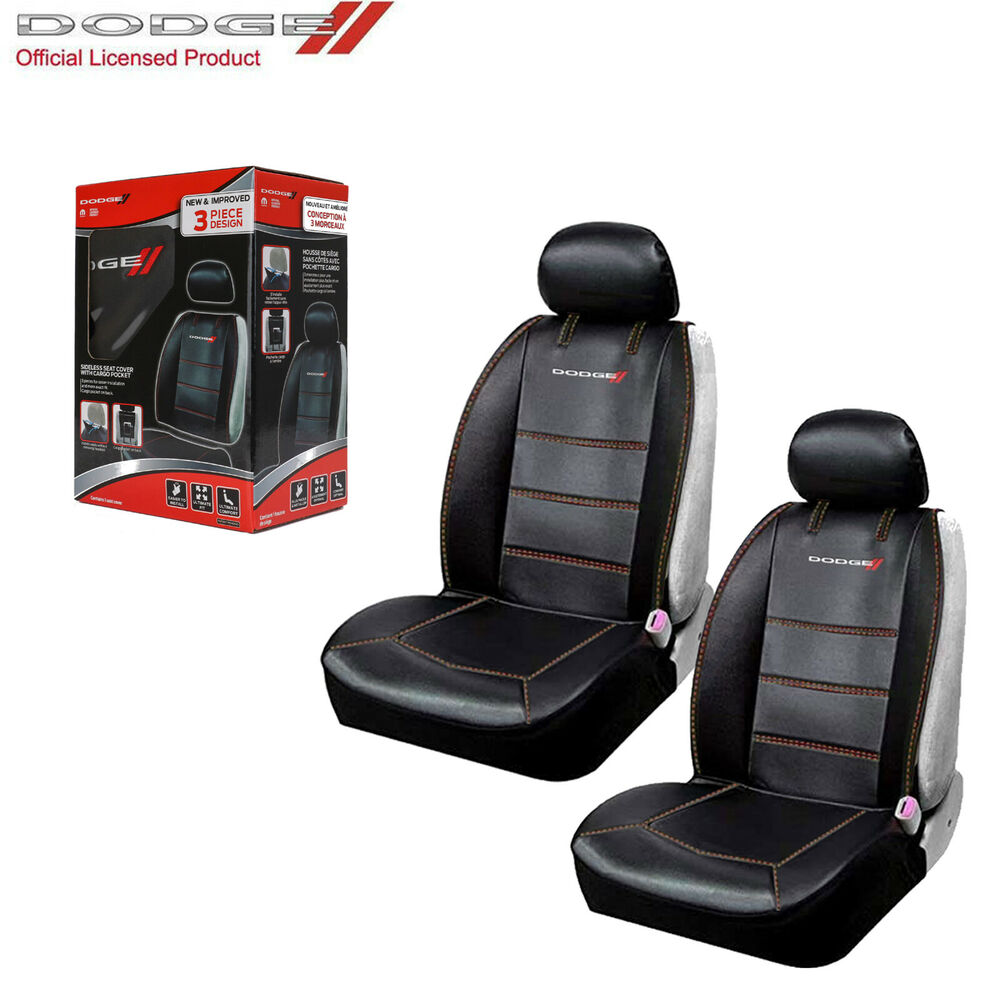 new dodge elite synthetic leather sideless car truck 2 front seat covers set ebay. Black Bedroom Furniture Sets. Home Design Ideas