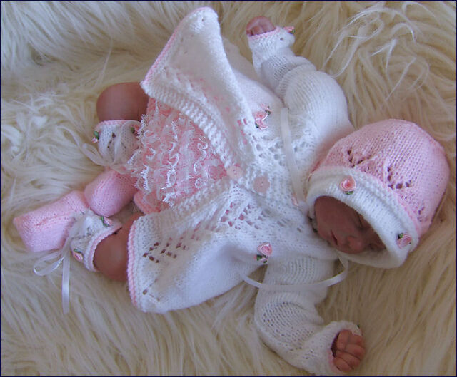 Baby Knitting Patterns Dk : Baby Knitting Pattern DK 12 TO KNIT Baby Matinee Set Lace Knickers Bonnet Sho...
