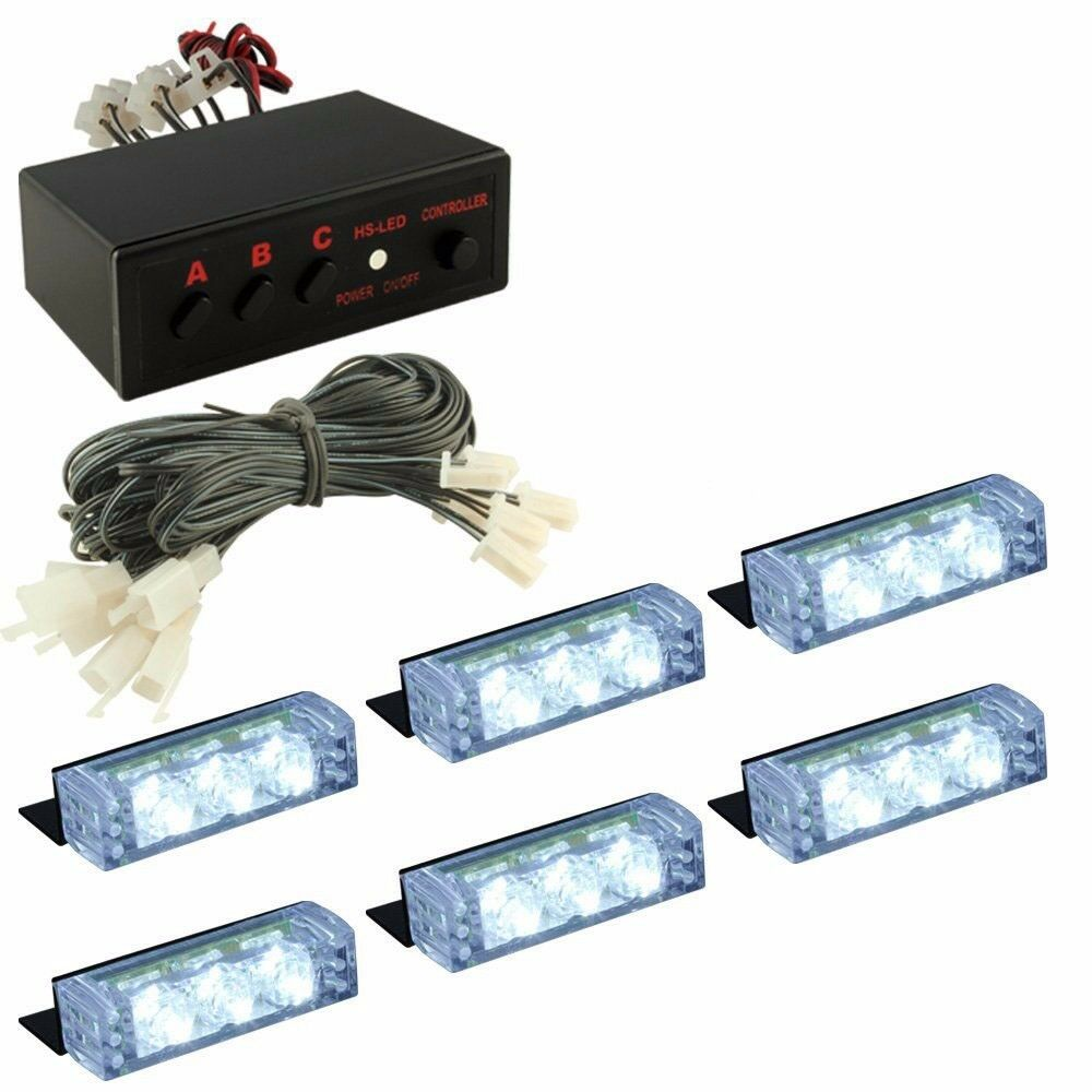 white 18 led emergency vehicle car strobe flash lights. Black Bedroom Furniture Sets. Home Design Ideas