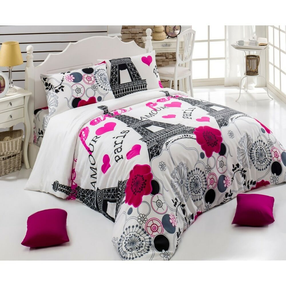paris city ranforce double queen duvet cover set 4 pc bedding set bedroom decor ebay. Black Bedroom Furniture Sets. Home Design Ideas