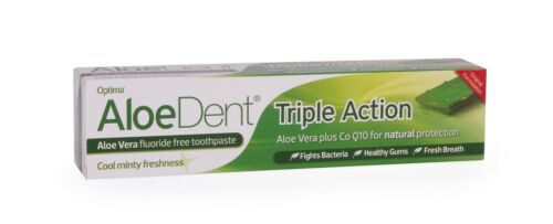 Aloe Dent Triple Action Fluoride Free Toothpaste with CO-Q-10 100ml - 3 Packs