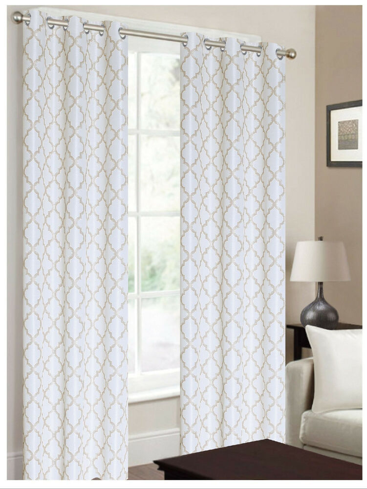 2 panels ivory off white taupe 100 blackout grommet