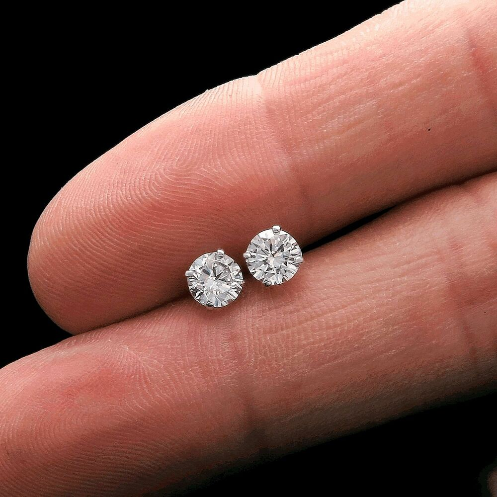 1ct Round Cut Brilliant Solitaire Earrings 14k White Gold