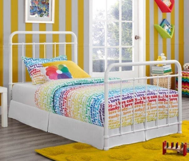 Twin Antique Style White Metal Beds Bed Frame Frames