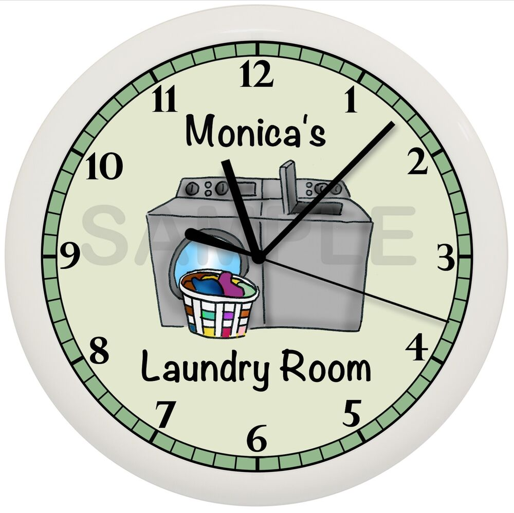 LAUNDRY ROOM WALL CLOCK GREEN DECOR GIFT PERSONALIZED ...