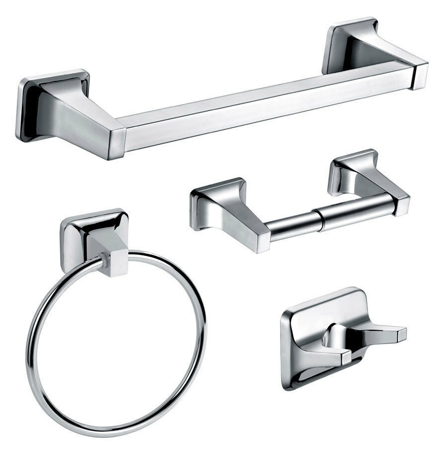 dowell 4 piece bathroom accessory kit chrome finish 100541 ebay