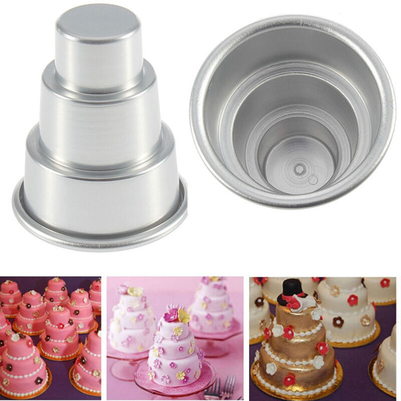 3 sizes mini 3 tier wedding cake tins pudding pan baking muffin bakeware mold t ebay. Black Bedroom Furniture Sets. Home Design Ideas