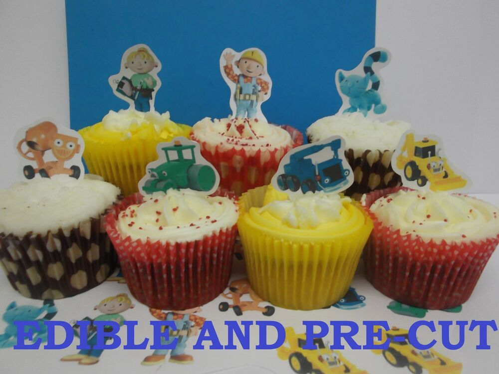 Bob The Builder X24 Edible Stand Up Cup Cake Toppers Wafer Paper