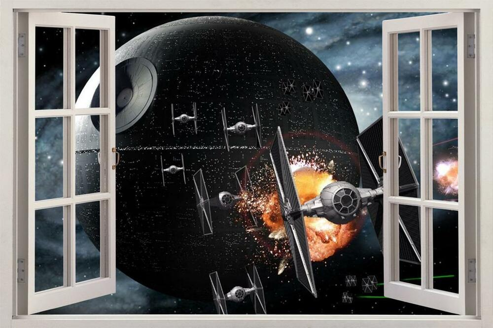 star wars death star 3d window view decal wall sticker