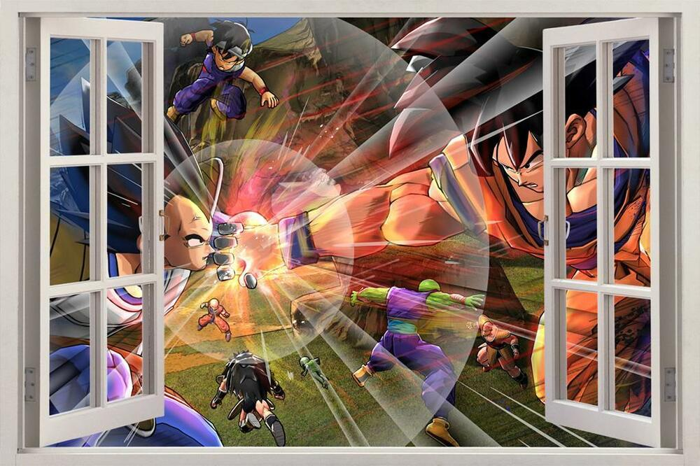 Dragon ball z 3d window view decal wall sticker home decor for Dragon ball z mural