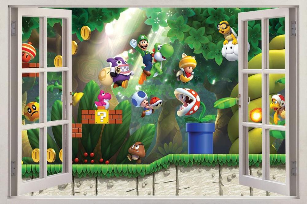 Super mario bros scene 3d window view decal wall sticker for Sticker mural 3d