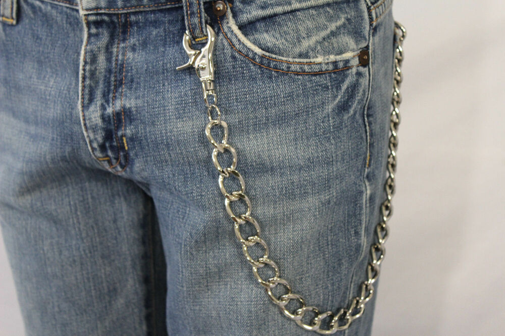 Men Silver Classic Chunky Metal Thick Wallet Chain KeyChain Biker Jeans Truck | eBay