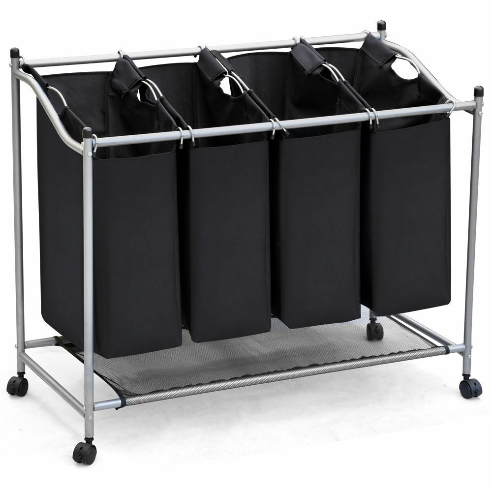 CHROME REMOVABLE CANVAS 4 SECTION LAUNDRY WASHING BASKET ...