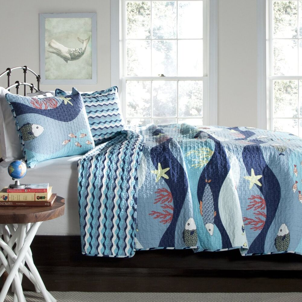 Ocean blue full queen quilt set fish starfish tropical for Fish bedding twin
