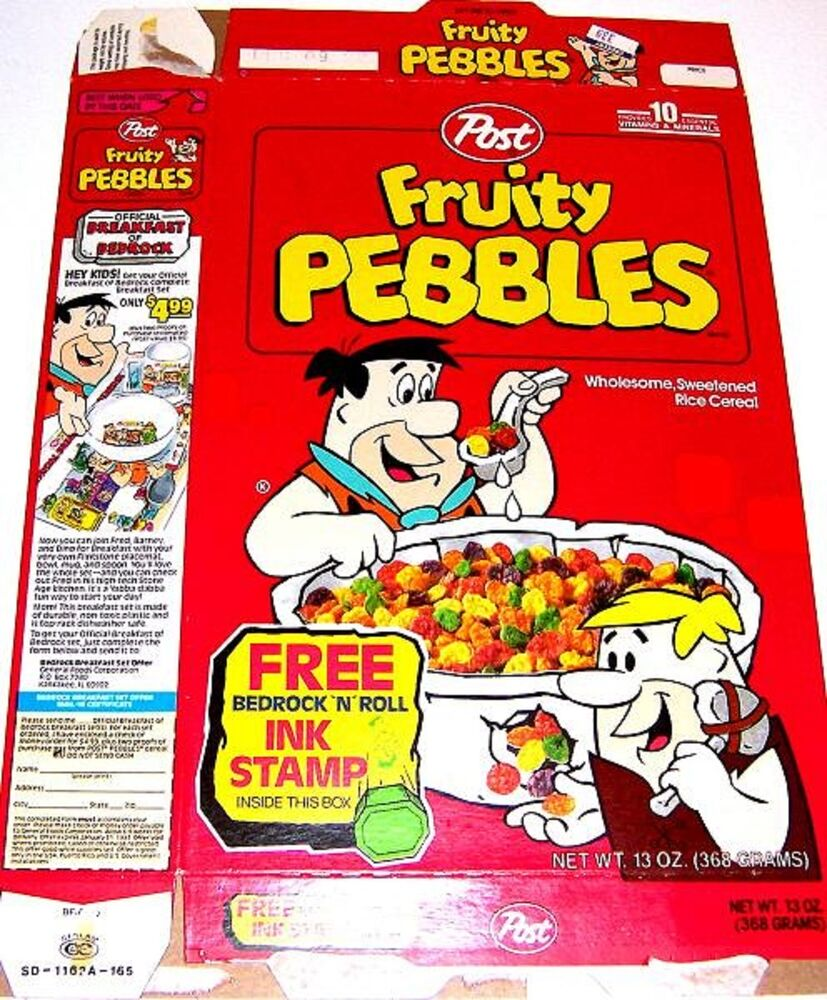 1992 Fruity Pebbles Cereal Box Ee075