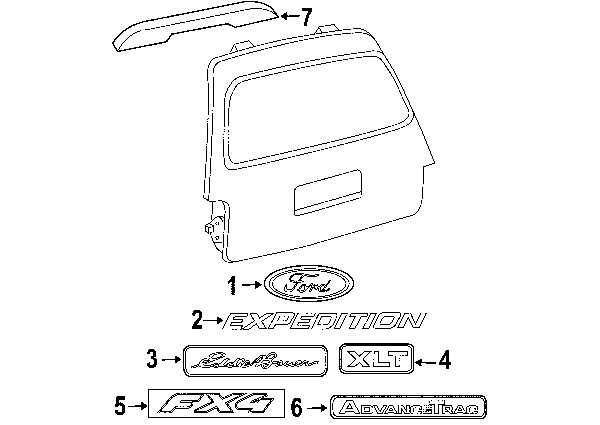 2003 ford expedition liftgate parts