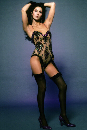 Cher Sexy Full Length In Basque And Stockings Cleavage -7868