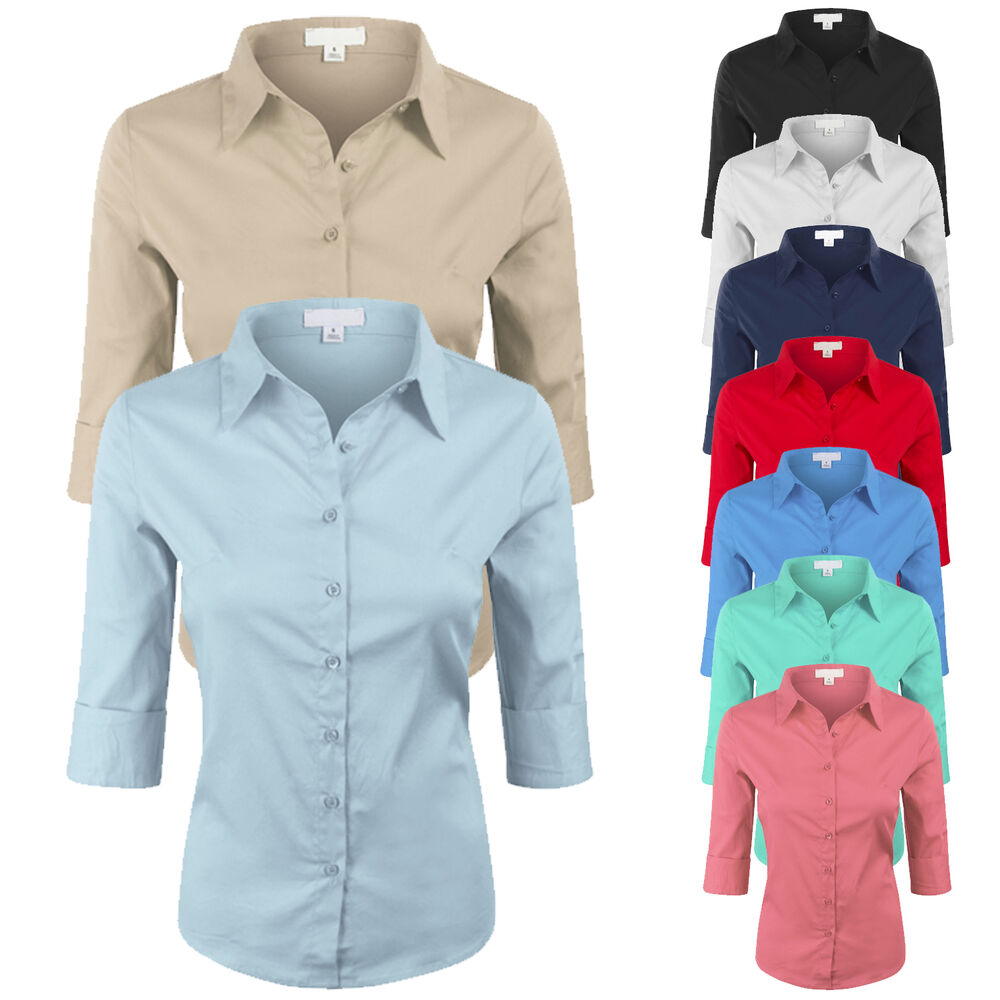 Womens classic basic 3 4 sleeve solid color button down for Womens stretch button down shirt