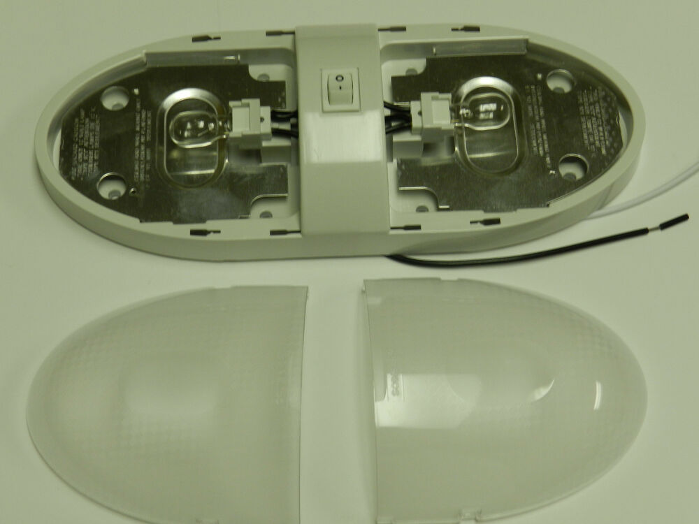 Euro Double Dome Ceiling Light 12v Interior Camper Rv Trailer White Optronics Ebay