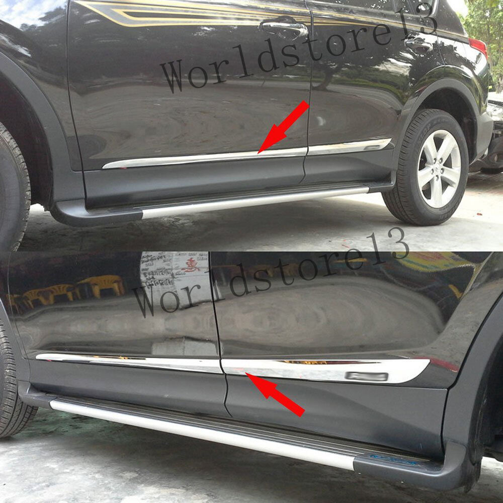 Fit 2013 2018 toyota rav4 rav 4 chrome door side body molding trim garnish 4pcs ebay Plastic molding for exterior doors