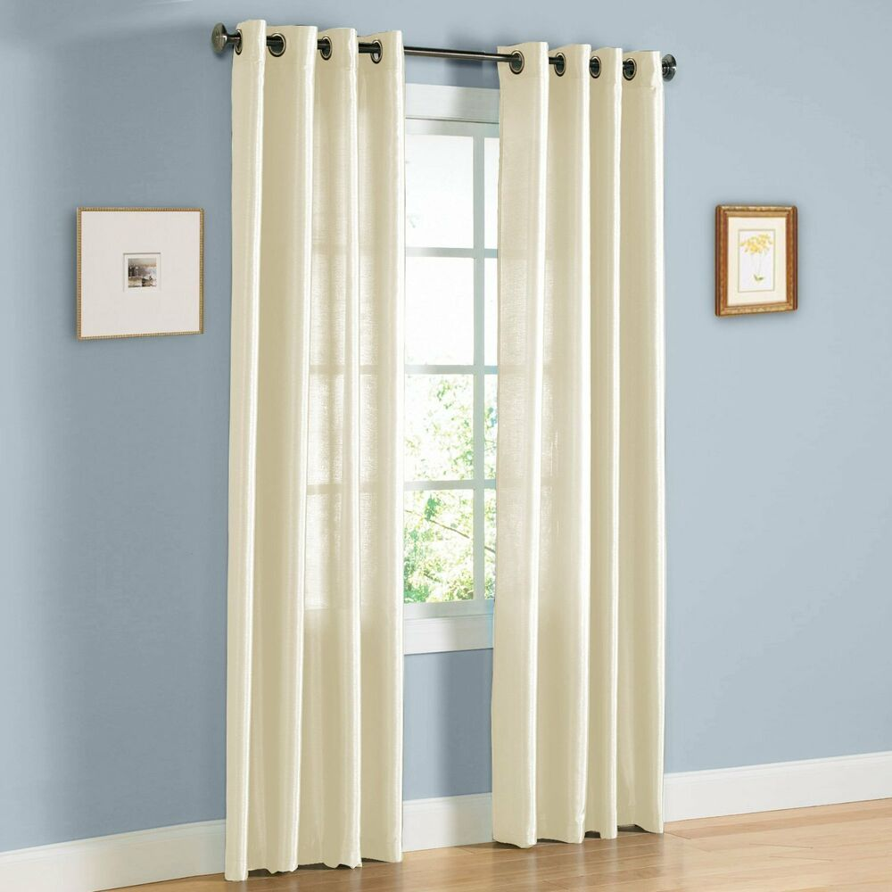 white curtains in living room faux silk mira window treatments curtains grommets 63 quot 84 21567