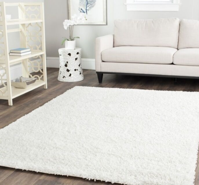 Solid pure white shag area rug rugs carpet 4 6 5 8 7 10 8 for 7 x 9 dining room rugs