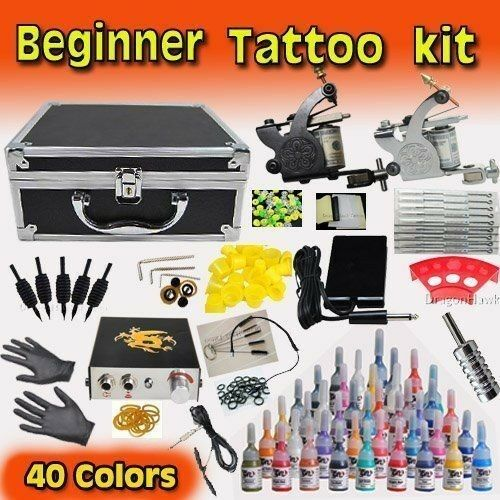 pro tattoo kit beginner equipment inks machine needles