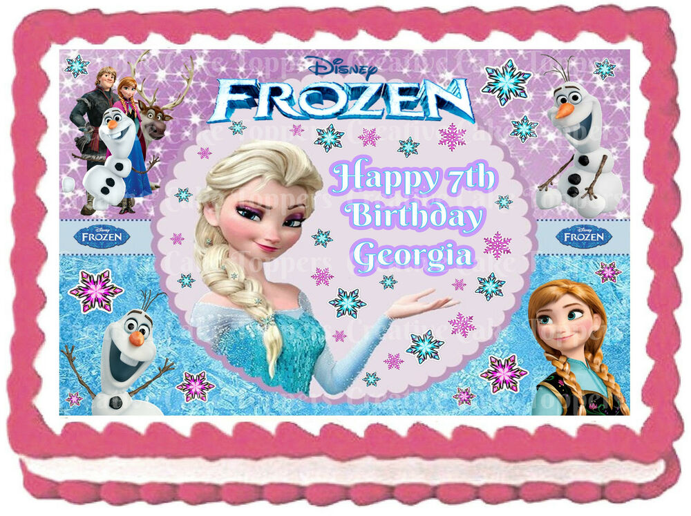 Edible Frozen Elsa Anna Olaf Disney Princess Icing Girls Birthday