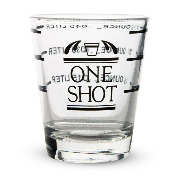 measured shot glass 1 1 2 oz half ounce measurements home bar drink mixing ebay. Black Bedroom Furniture Sets. Home Design Ideas