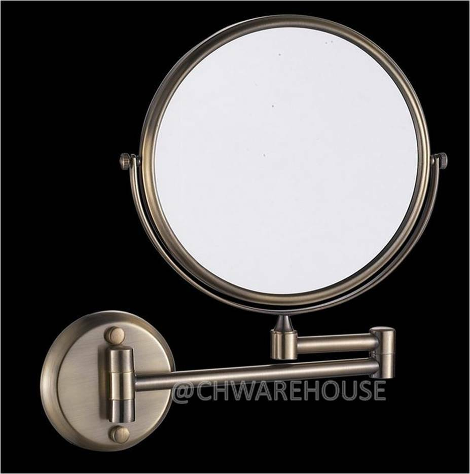 "NICKEL 8"" MAGNIFYING MIRROR, BATH, MAKEUP, WALL MOUNTED"