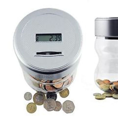 uk pound coin counting money jar piggy bank saving safe
