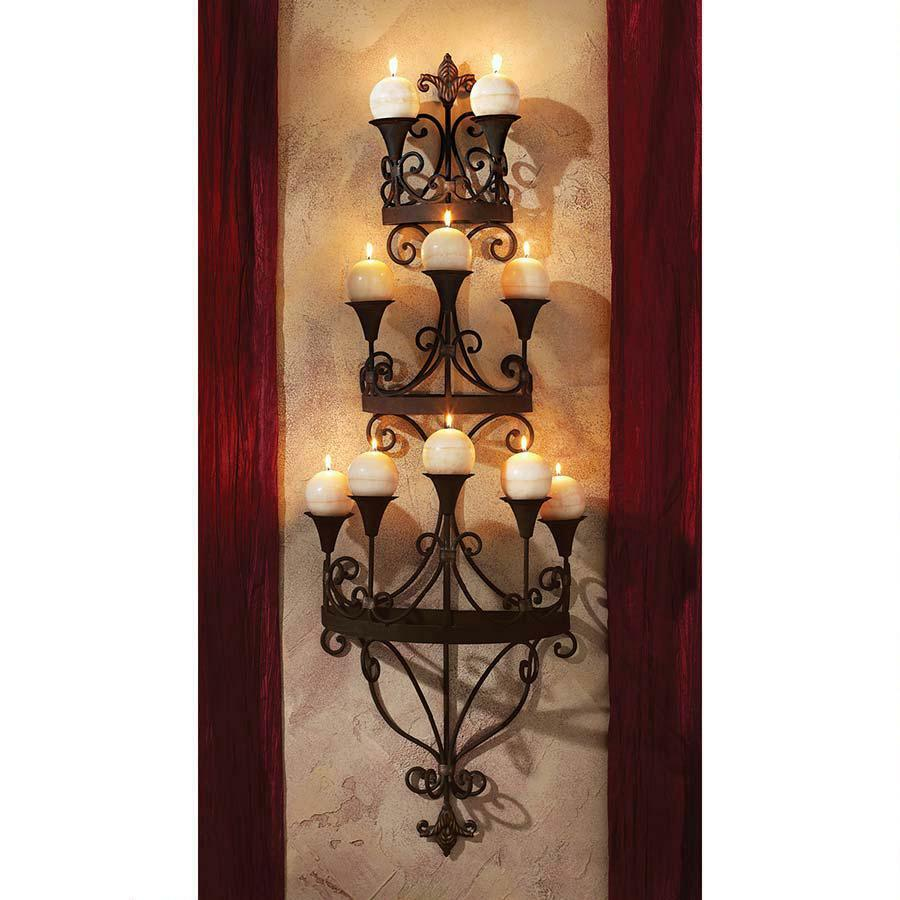 Wall Mounted Candle Lights : Symphony of Light Wall Mounted Matte Black Metal Scroll Candle Chandelier Sconce eBay