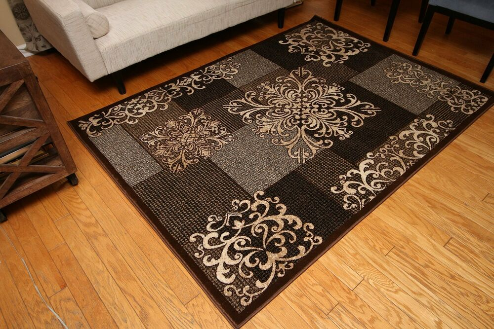 New Brown Beige Grey Black Modern Contemporary Floral Wool