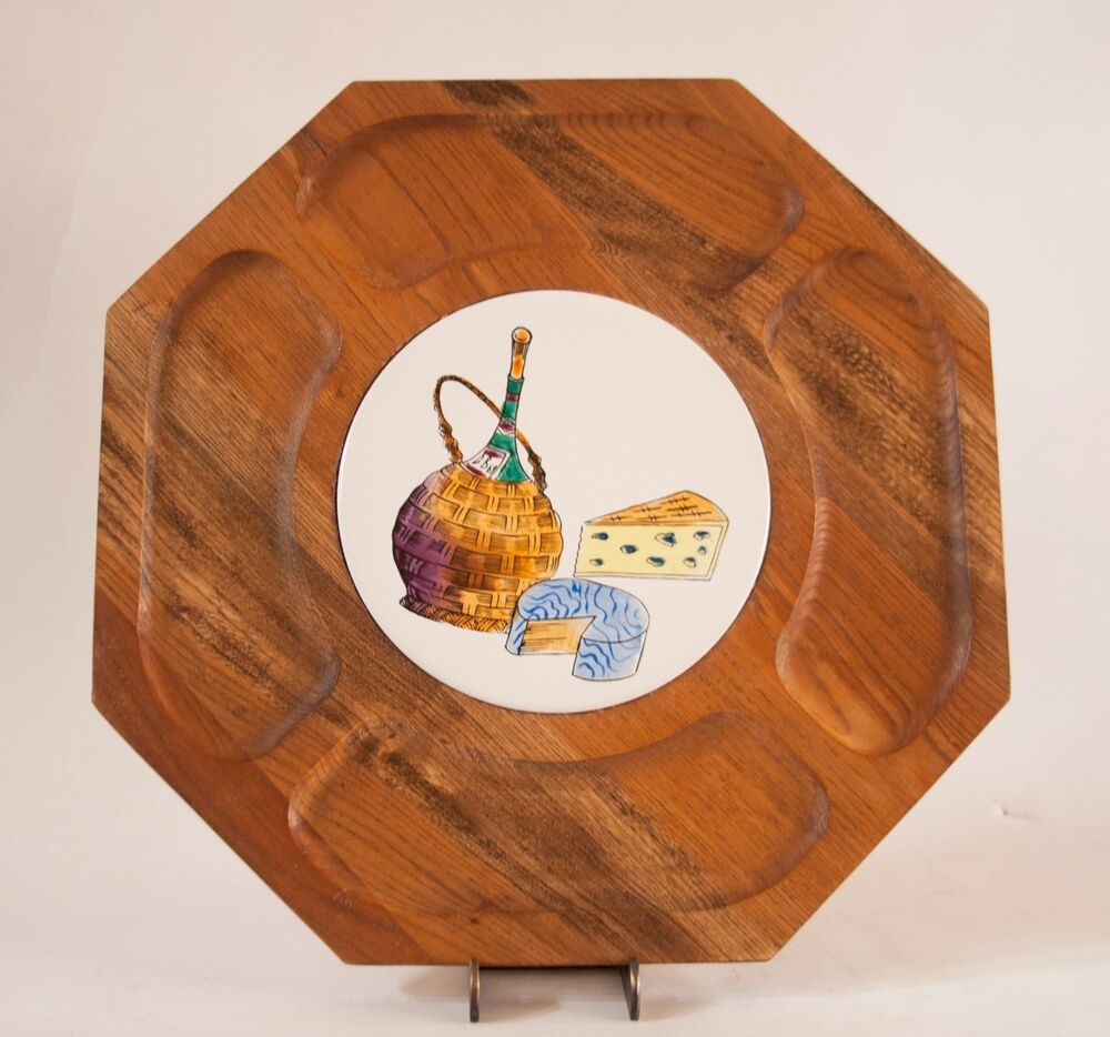 Vintage Hexagon Shaped Wooden Serving Tray with Center ...
