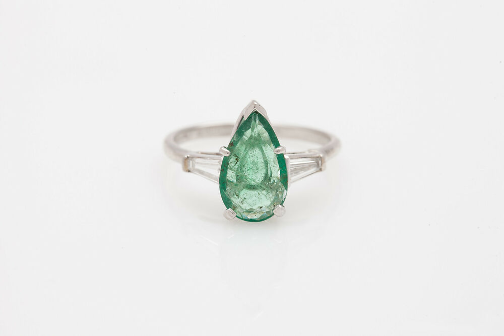 Antique $10 000 5ct Colombian Pear Cut Emerald Diamond Platinum Wedding Ring