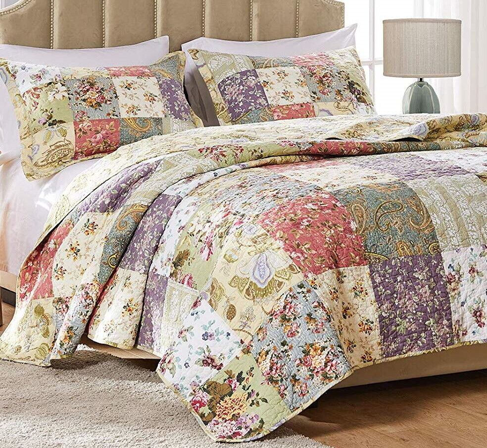 Blooming Garden 5pc Full Queen Or King Quilt Set Cotton