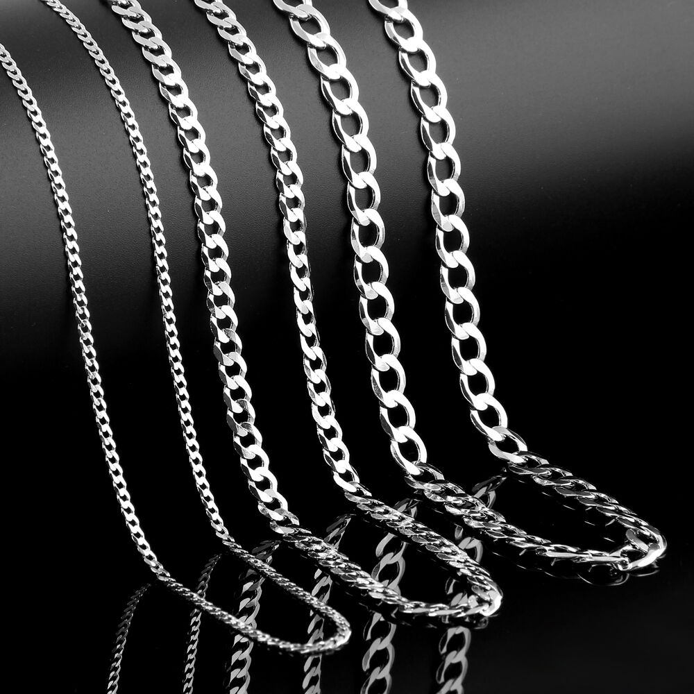 925 Mens Sterling Silver Curb Chain Necklace Bracelet 16