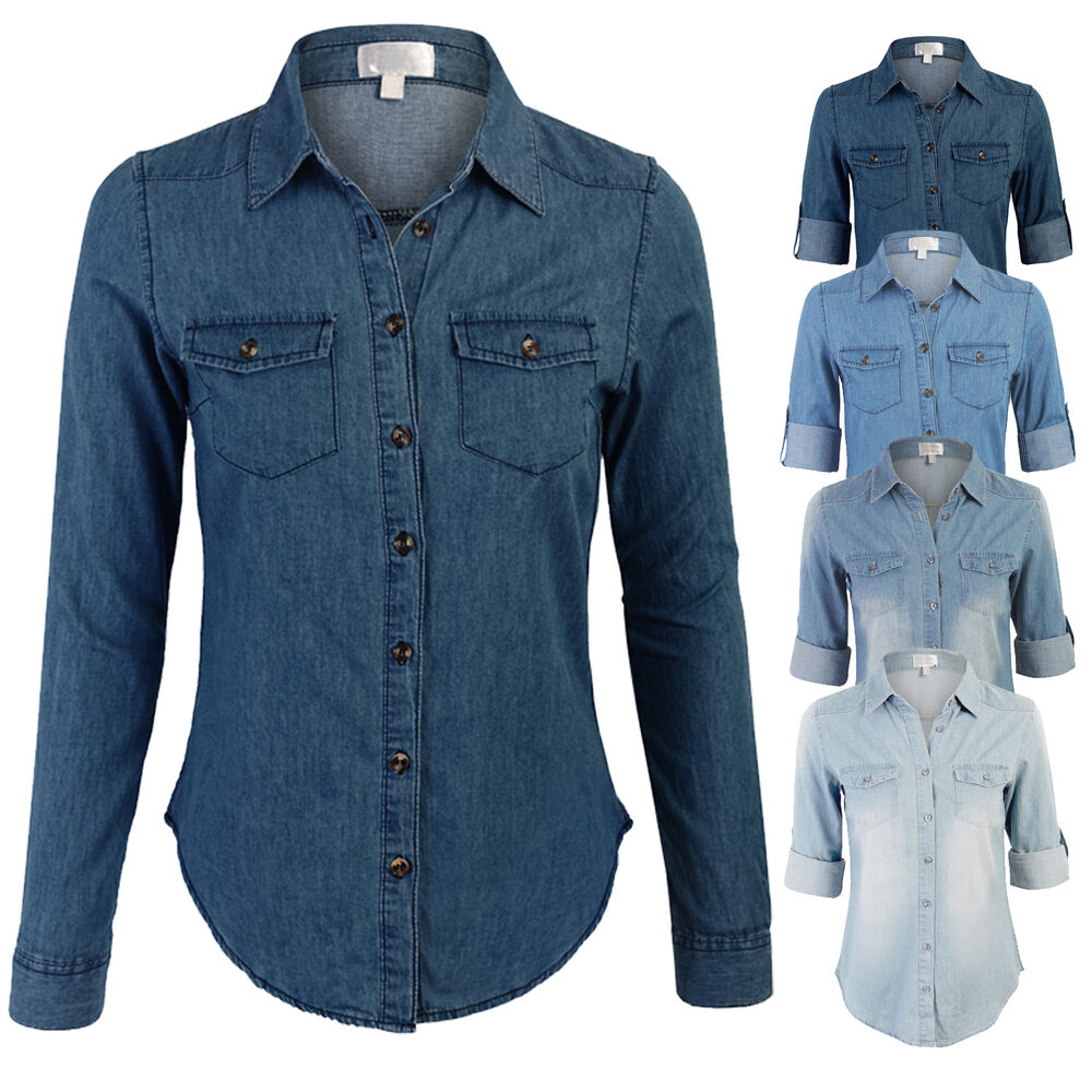 Womens chambray blouse silk blouses for Chambray shirt women