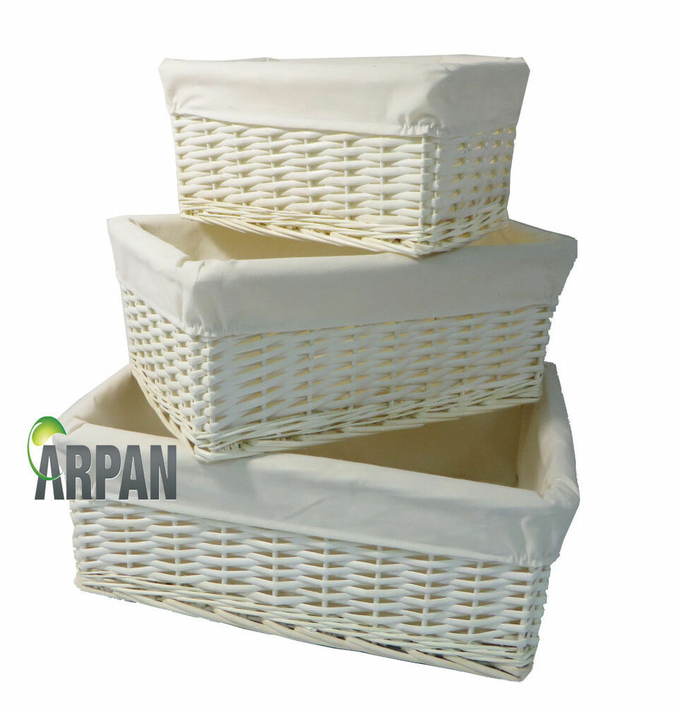 White Wicker Gift Hamper Storage Basket With White Lining
