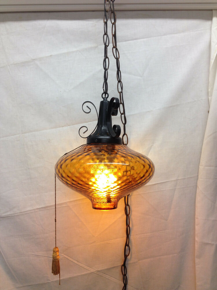 vintage mid century modern amber globe hanging ceiling light fixture