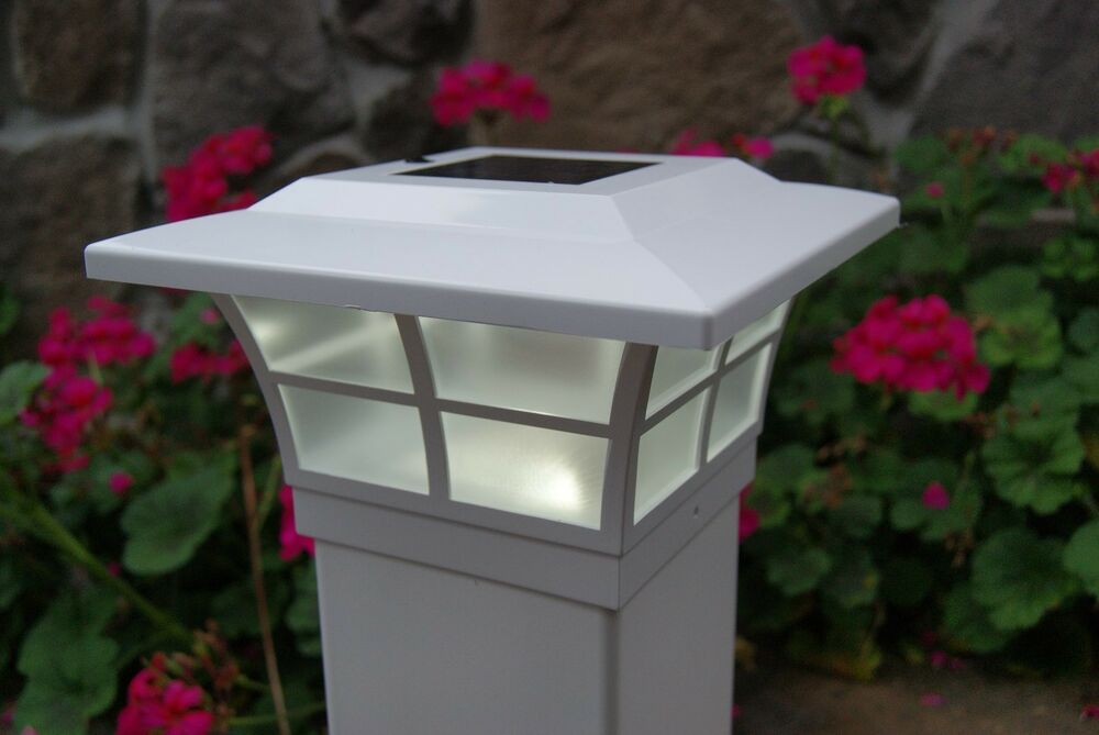 solar post cap led deck fence lights 5x5 white finish 8 pack ebay